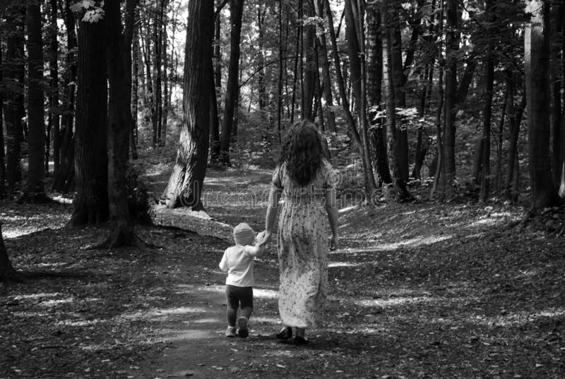 Een jonge moeder en een kleine dochter van 2 jaar gaan hand in hand langs de weg van het Park, onder de dikke lange bomen stock afbeelding