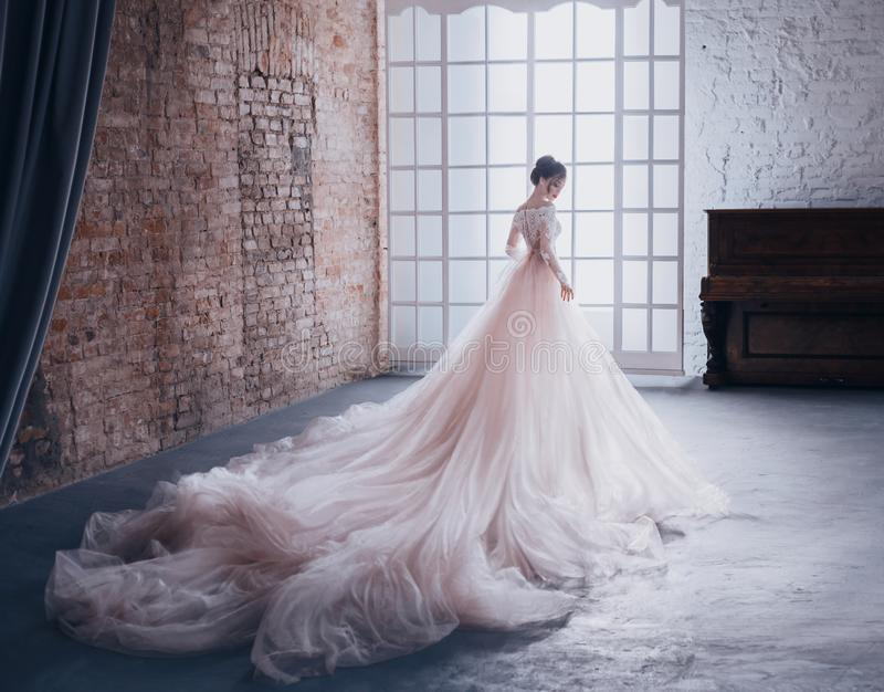 Een jonge prinses in een dure, luxueuze kleding met een lange trein bevindt zich met haar terug naar de camera, tegen royalty-vrije stock foto's