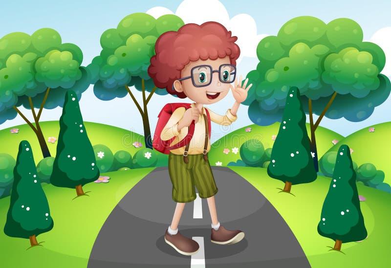 Een jonge reiziger met een rugzak die zich in het midden van bevinden vector illustratie