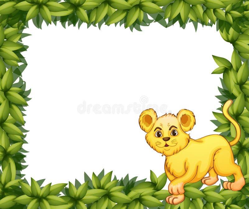 Een jonge tijger in lege bladsignage vector illustratie
