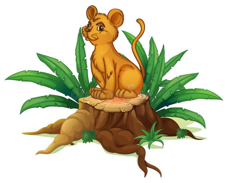 Een jonge tijgerzitting boven het hout vector illustratie