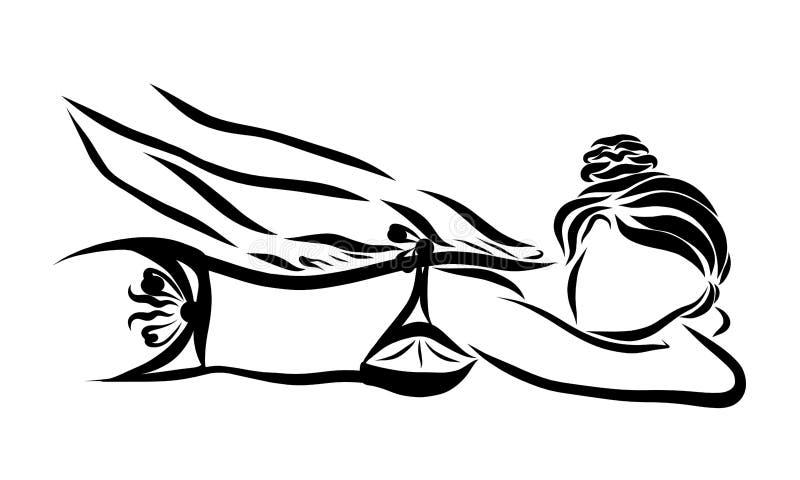 Een jonge vrouw in een badpak wordt gemasseerd of met room gesmeerd vector illustratie