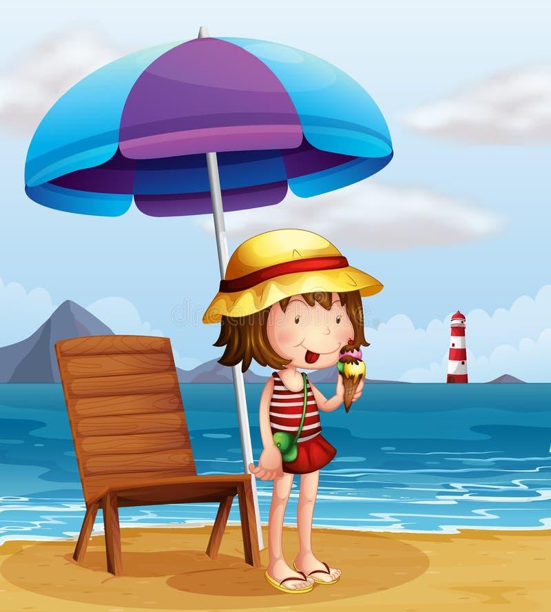Een jonge vrouw die een roomijs eten bij het strand vector illustratie