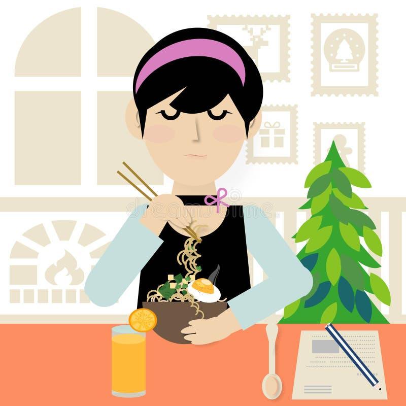 Een jonge vrouw die noedelsoep met eetstokjes en jus d'orange in het restaurant eten stock afbeelding
