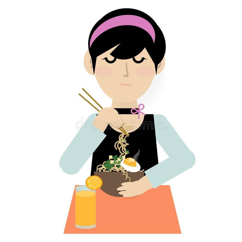 Een jonge vrouw die noedelsoep met eetstokjes en jus d'orange op witte achtergrond eten royalty-vrije stock afbeelding