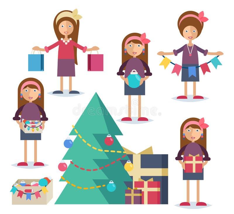 Een jonge vrouw die voor Kerstmis voorbereidingen treffen royalty-vrije illustratie