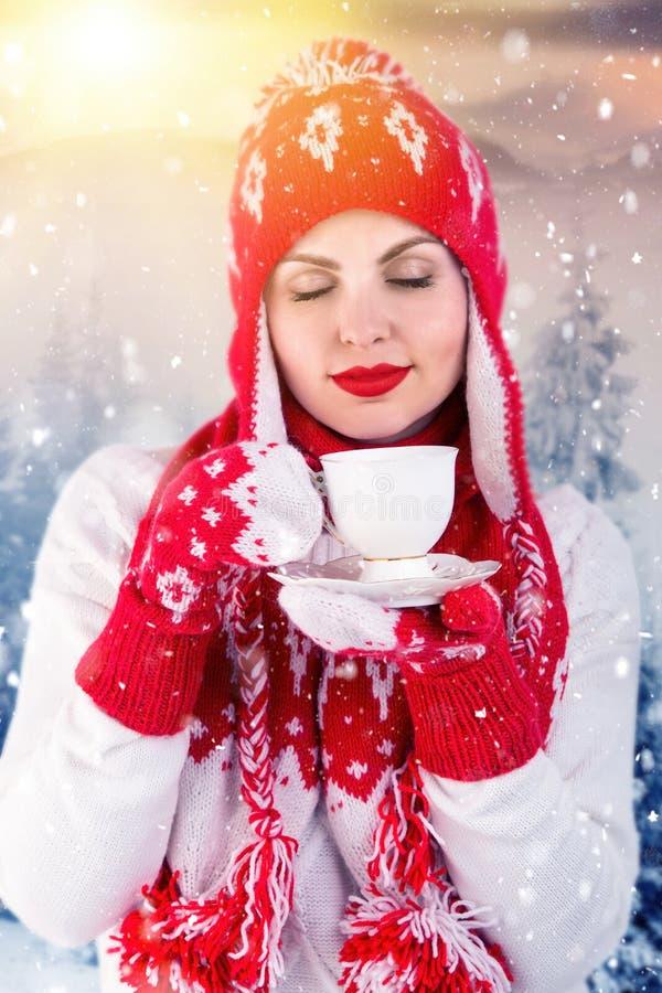 Een jonge vrouw in het sneeuw bos drinken van een kop thee of een koffie Gebreide hoed, sjaal en vuisthandschoenen stock fotografie