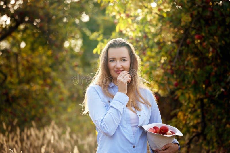Een jonge vrouw met appelen in een hoed bevindt zich in een appeltuin op een zonnige de herfstdag Gezond levensstijlconcept royalty-vrije stock fotografie