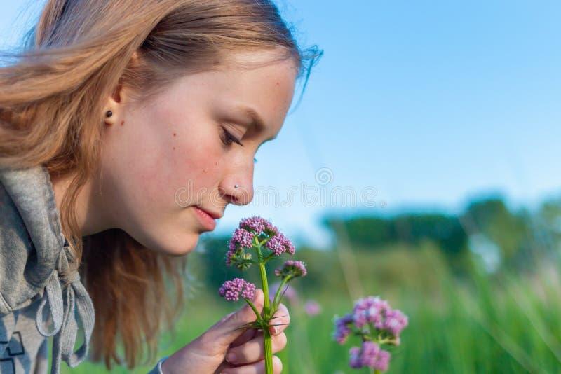 Een jonge vrouw ruikt een geurige wildflower stock afbeelding