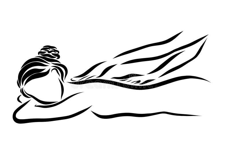 Een jonge vrouw wordt gegeven een massage royalty-vrije illustratie