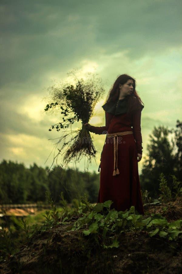 Een jonge witte Kaukasische vrouw met lang rood haar bevindt zich in een rode middeleeuwse kleding met chaperon en riem, houdend  royalty-vrije stock afbeeldingen