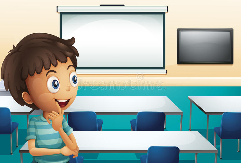 Een jongen binnen een vergaderzaal stock illustratie