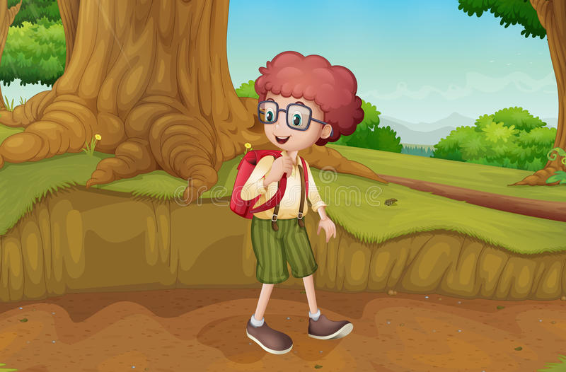 Een jongen dichtbij de wortels van een reuzeboom royalty-vrije illustratie
