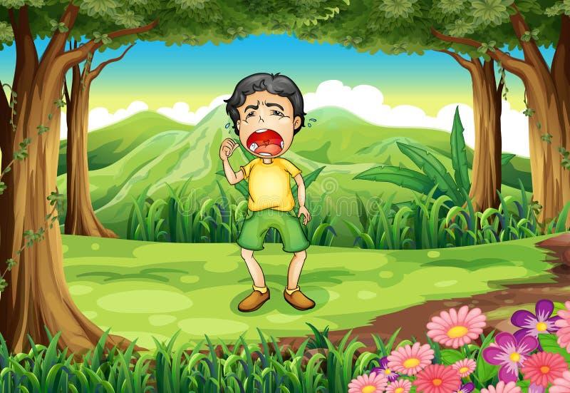 Download Een Jongen Die Bij Het Hout Schreeuwen Vector Illustratie - Illustratie bestaande uit nave, crying: 39117040