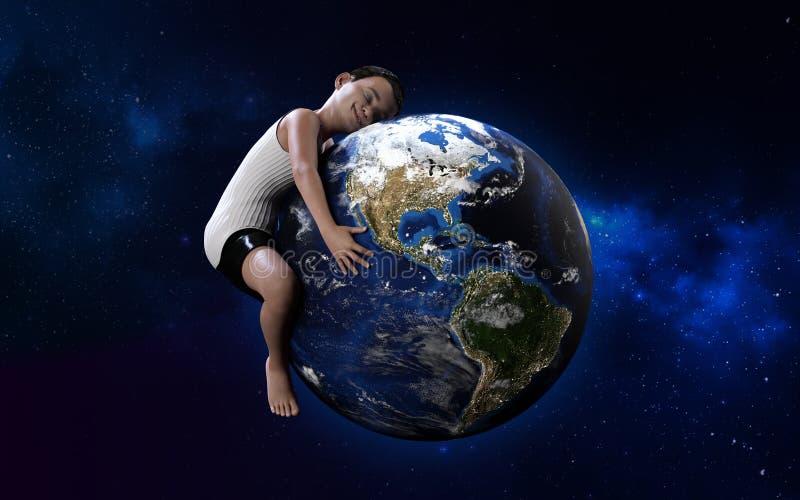 Een jongen die bol koesteren Groene wereld, milieu, sparen het wereldconcept stock illustratie