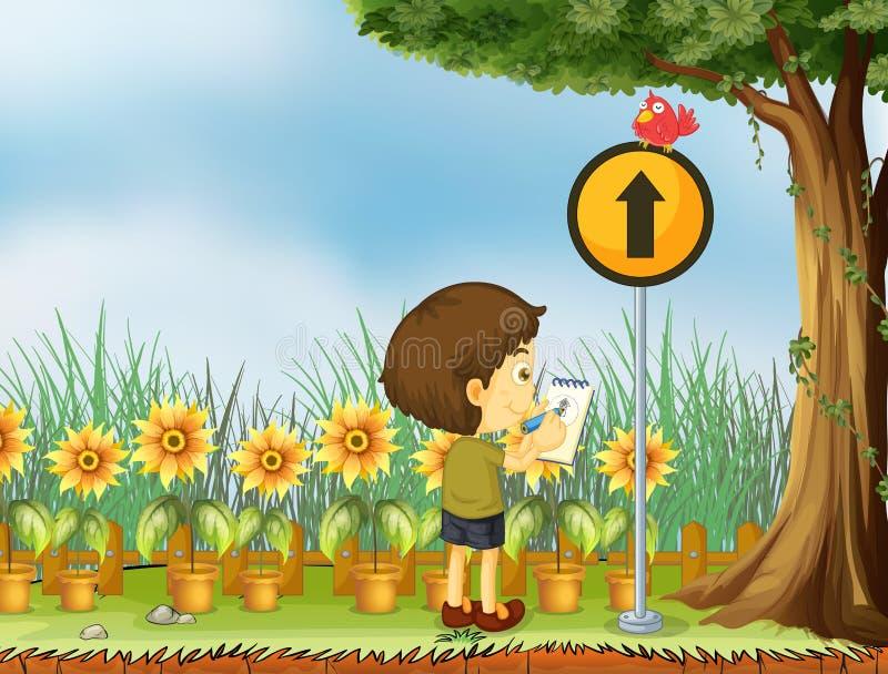 Een jongen die de vogel boven de gele post proberen te trekken stock illustratie