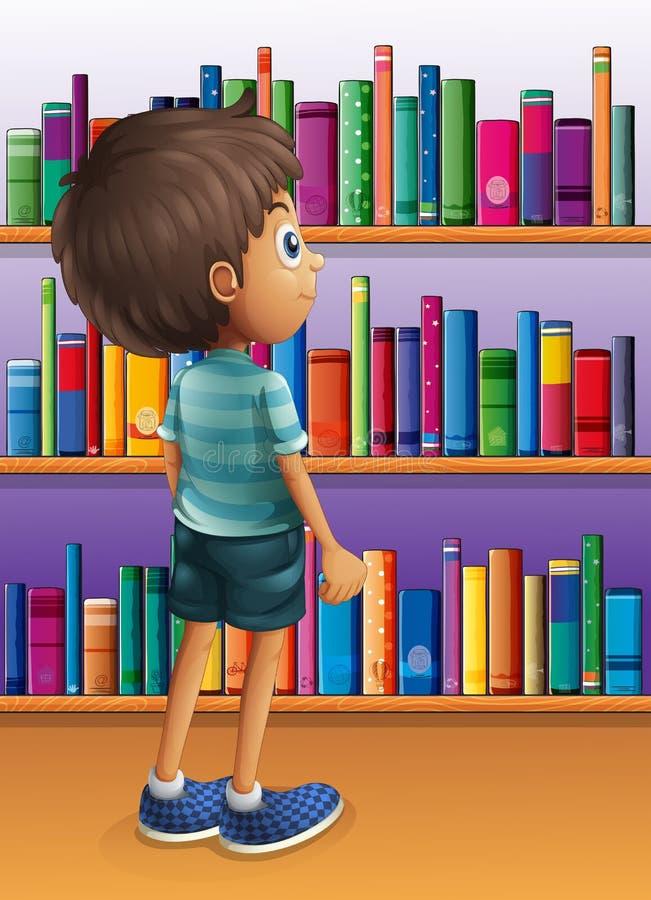 Een jongen die een boek zoekt in de bibliotheek vector illustratie