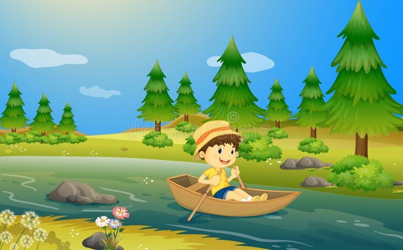Een jongen die een boot berijden stock illustratie