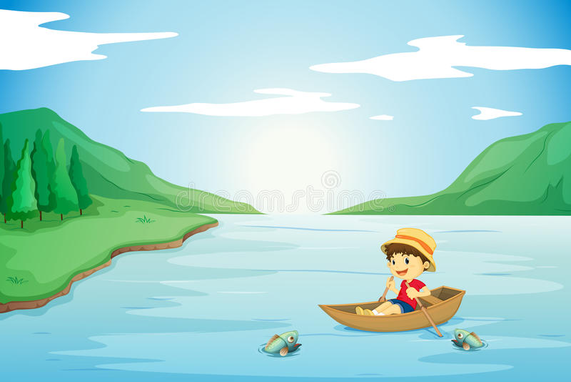 Een jongen die in een boot roeit vector illustratie