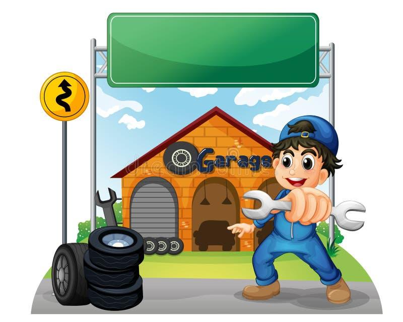 Een jongen die een hulpmiddel houden dichtbij het lege uithangbord voor GA vector illustratie