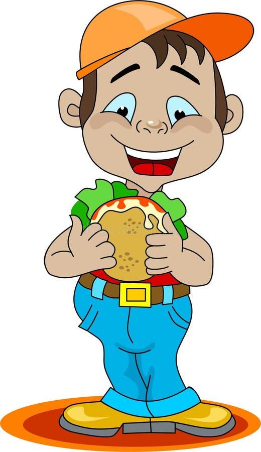 Een jongen die een sandwich eet royalty-vrije illustratie
