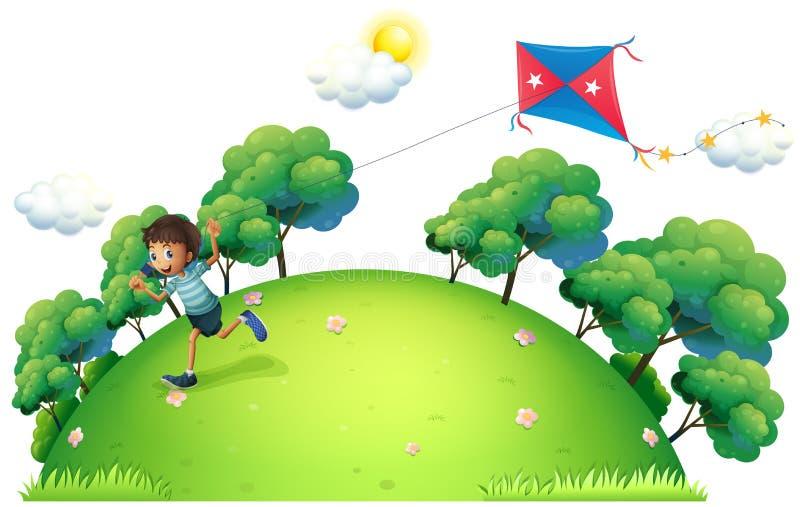 Een jongen die een vlieger vliegen vector illustratie