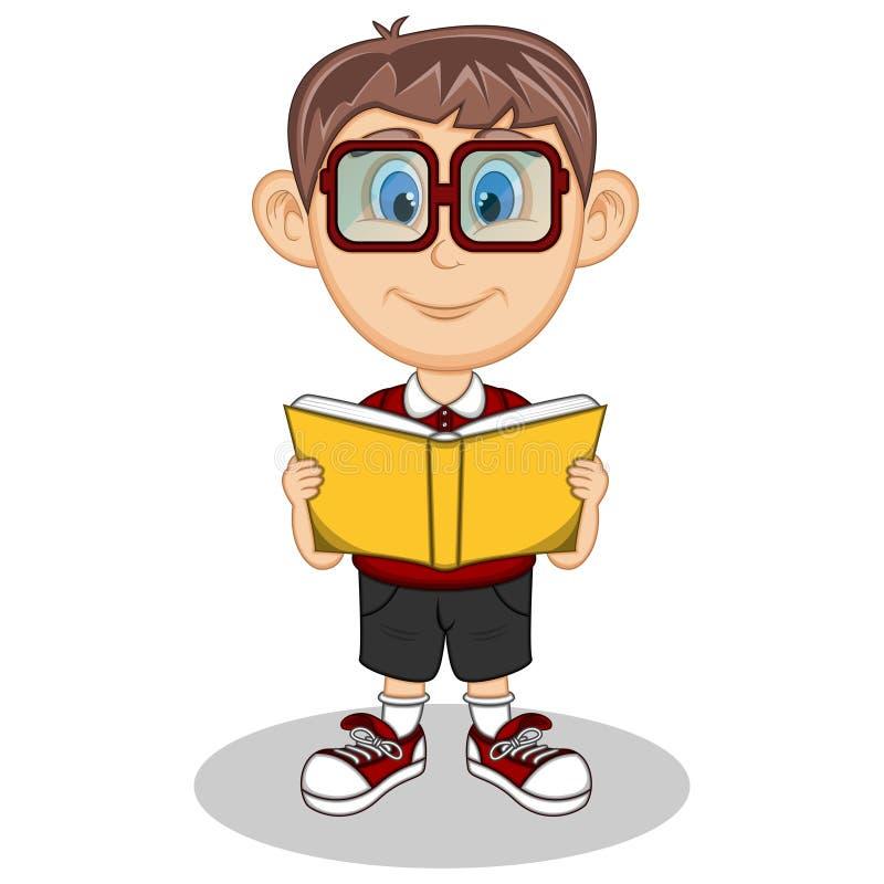 Een jongen die glazen dragen die een boek met glimlachbeeldverhaal lezen royalty-vrije illustratie