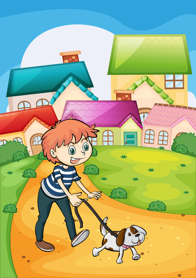 Een jongen die met zijn huisdier wandelen stock illustratie