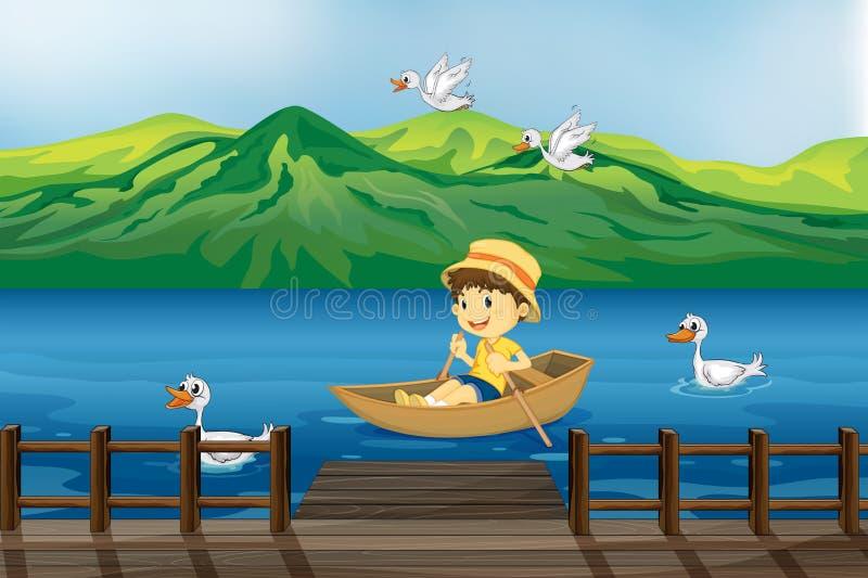 Een jongen die op een houten boot berijdt stock illustratie