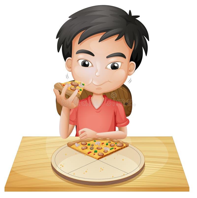 Een jongen die pizza eten stock illustratie