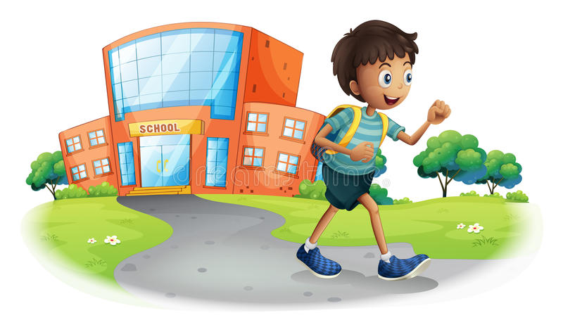 Een jongen die van school naar huis gaan royalty-vrije illustratie