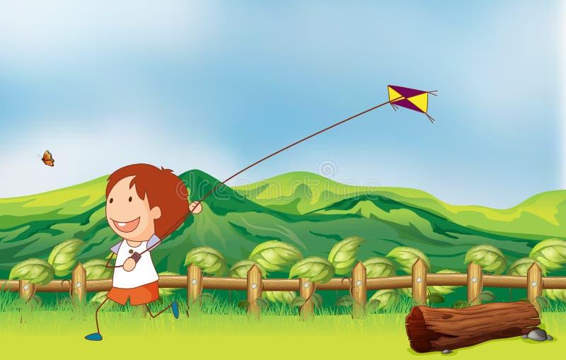 Een jongen die zijn vlieger vliegen bij de brug royalty-vrije illustratie