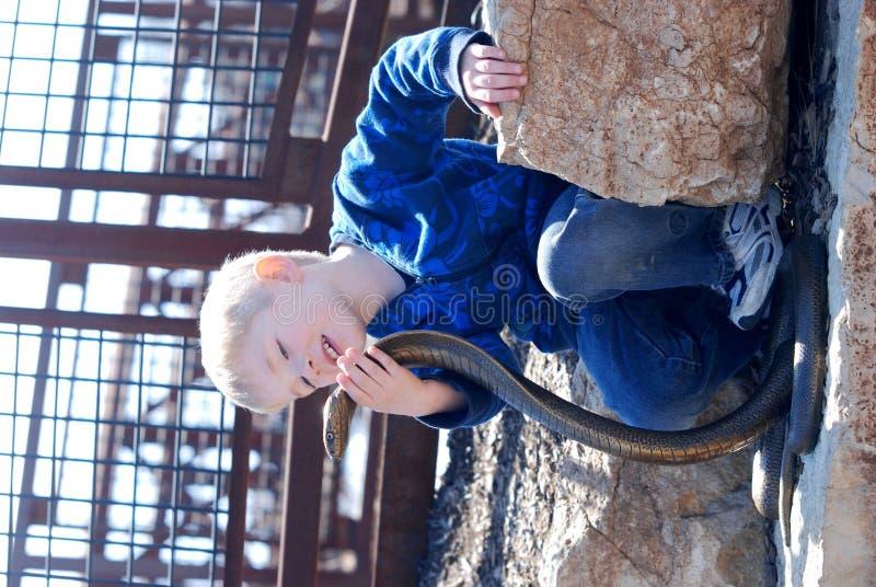 Een jongen en een cobra stock afbeeldingen