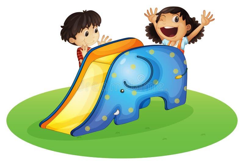 Een jongen en een meisje die gelukkig spelen vector illustratie