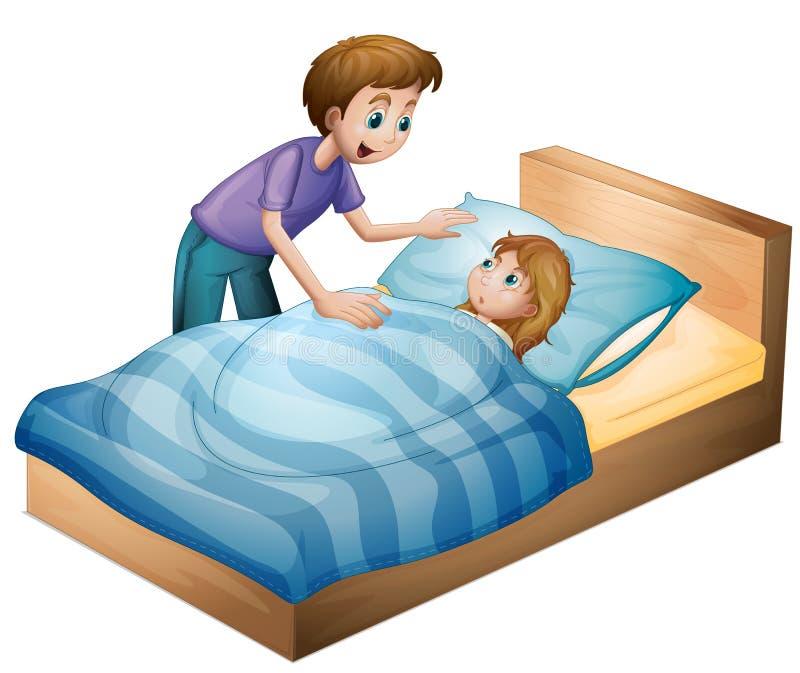 Een jongen en een slaapmeisje royalty-vrije illustratie