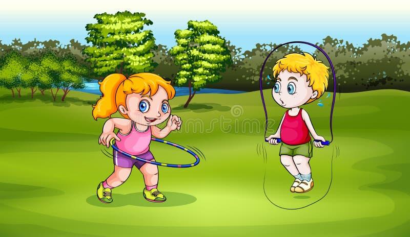 Een jongen en meisje het spelen vector illustratie