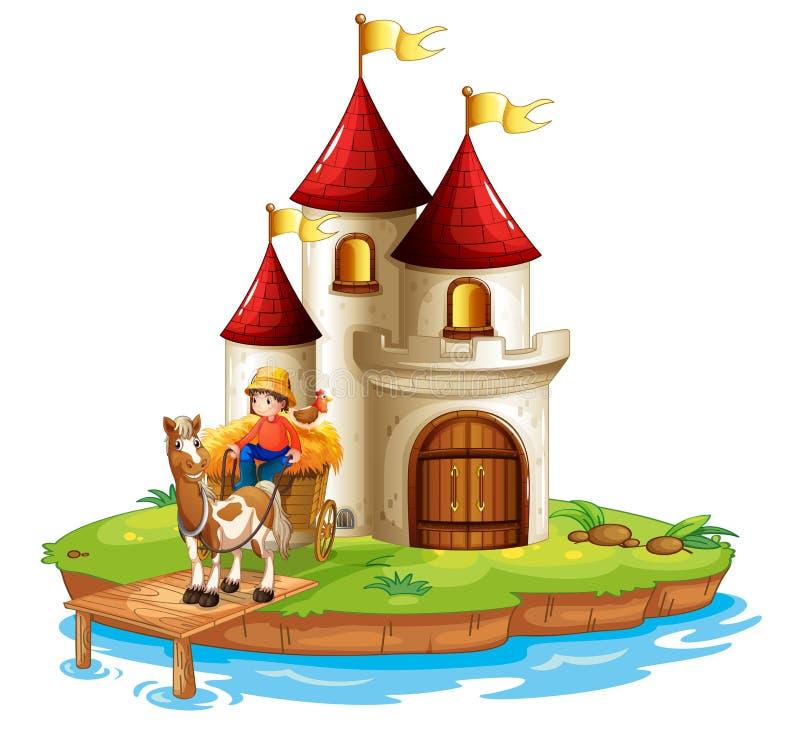 Een jongen en zijn kar voor een kasteel vector illustratie