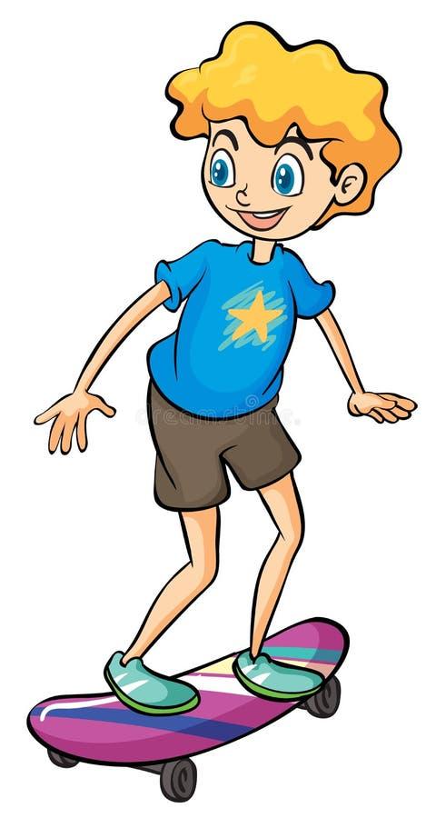 Een jongen het spelen skateboard royalty-vrije illustratie