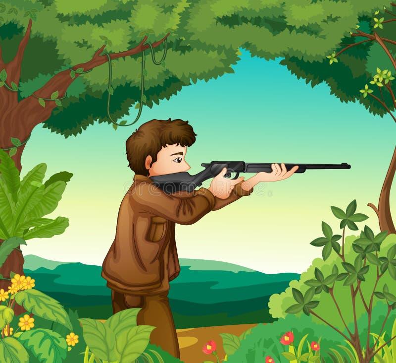 Een jongen met een kanon binnen het bos stock illustratie