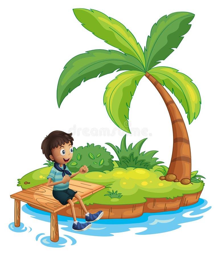 Een jongen met een sjaalzitting boven de houten brug in het eiland royalty-vrije illustratie