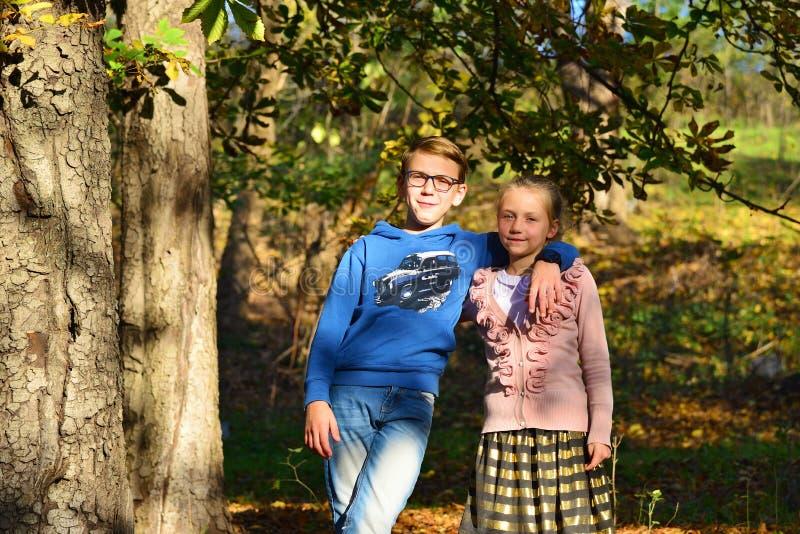 Een jongen met een meisje omhelst in het bos op droge bladeren op een een een de zomeravond, broer en zuster in aard stock foto