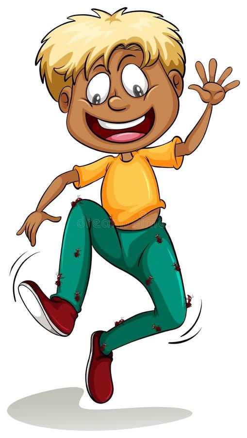 Een jongen met mieren rond zijn broek vector illustratie