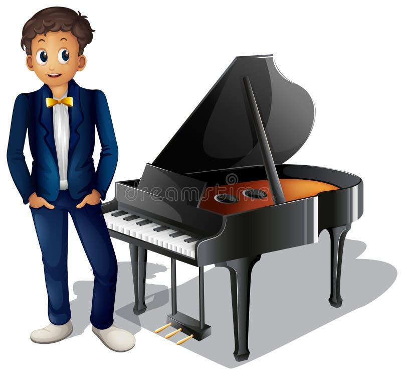Een jongen naast de piano royalty-vrije illustratie