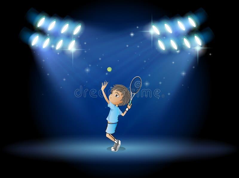 Een jongens speeltennis in het midden van het stadium stock illustratie