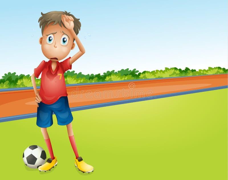 Een jongens speelvoetbal stock illustratie