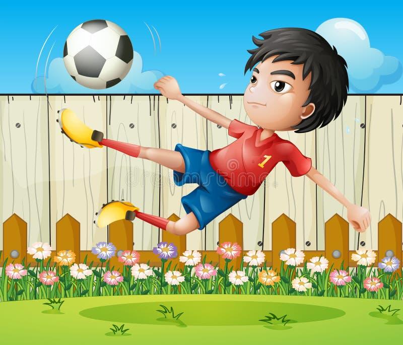 Een jongens speelvoetbal binnen de omheining vector illustratie