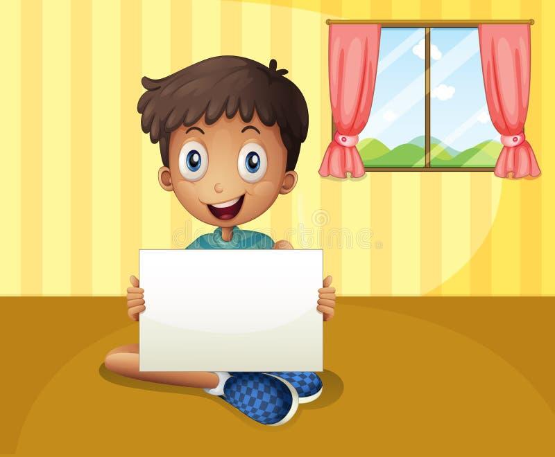 Een jongenszitting bij de vloer met een leeg uithangbord stock illustratie