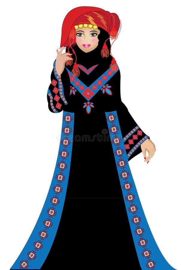 Een Jordanian tradionalvrouw stock afbeelding