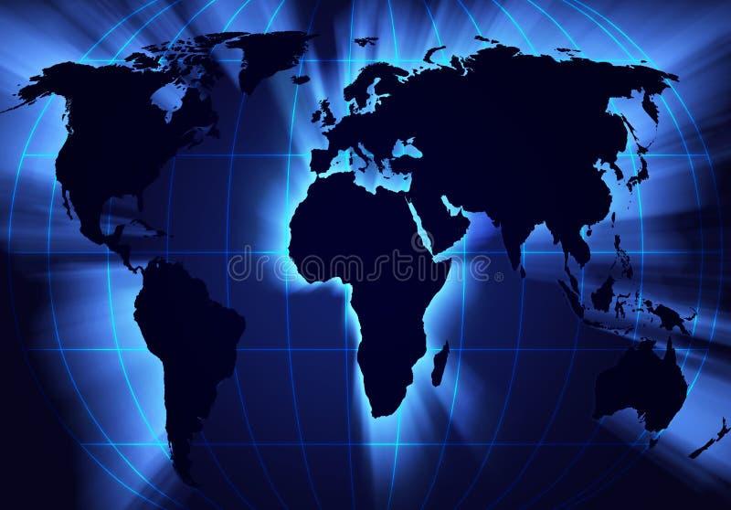 Een kaart van de wereld stock illustratie