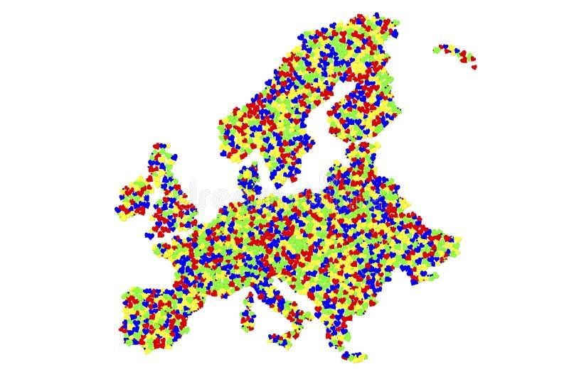 Een kaart van Europa van duizenden harten wordt gemaakt dat vector illustratie